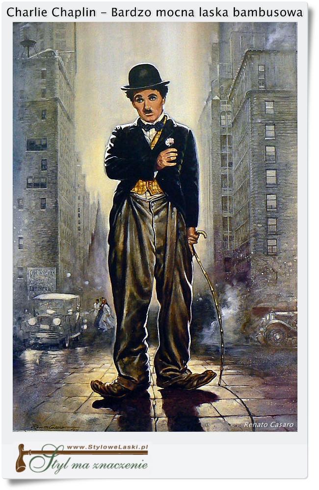 Charlie Chaplin z bambusową laską