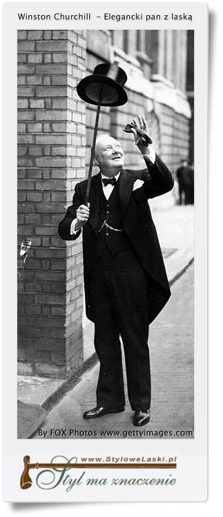 Winston Churchill z drewnianą laską